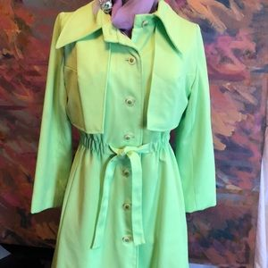 Jackets & Blazers - Vintage 70s trench coat lined belt pockets green